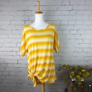 Rain Textured Tie Front Striped Tunic To Gold XL